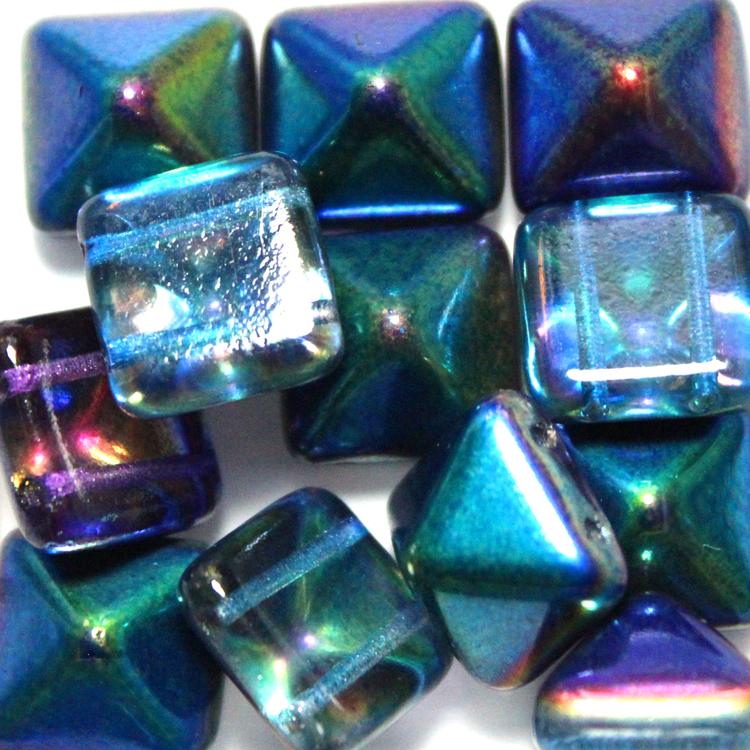 Crystal Magic Blue Pyramid Beads 12x12mm 12st