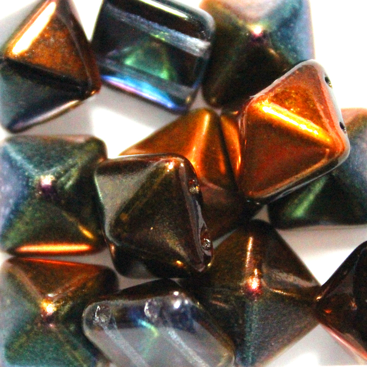 Crystal Magic Copper Pyramid Beads 12x12mm 12st
