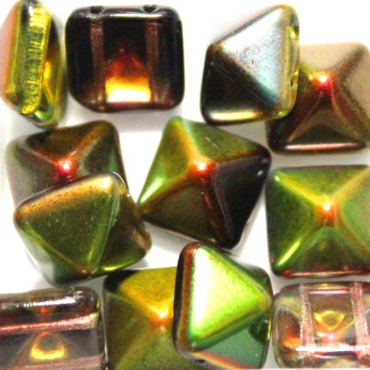 Crystal Magic Green Pyramid Beads 12x12mm 12st