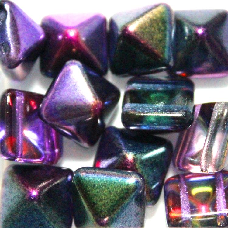 Crystal Magic Purple Pyramid Beads 12x12mm 12st