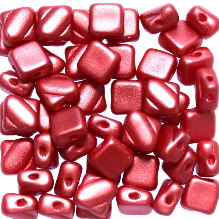 Alabaster Pastel Dark Coral Silky Beads 50st