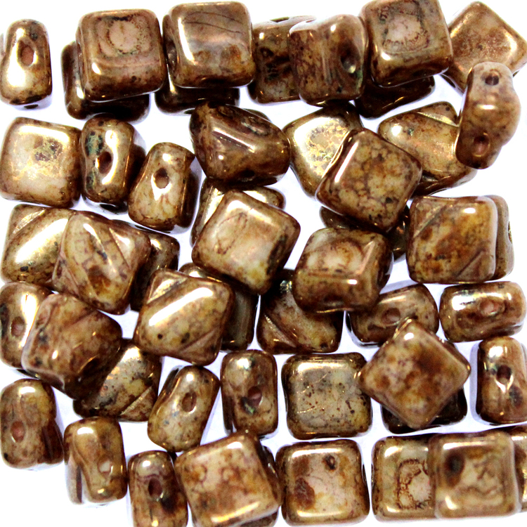 Ivory Bronze Picasso Silky Beads 50st