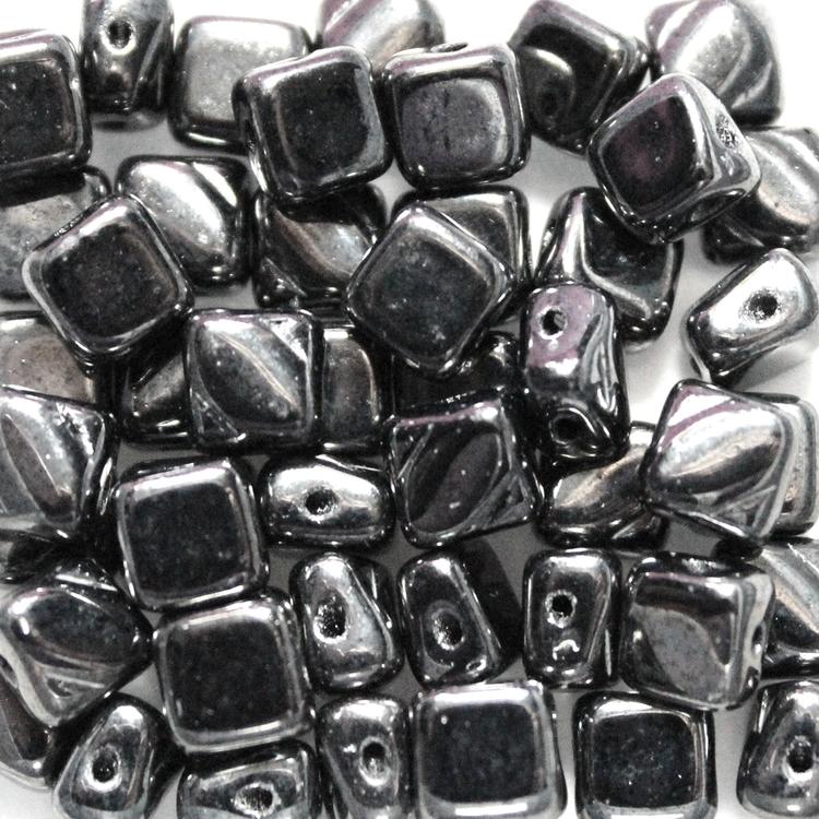 Jet Hematite Silky Beads 50st
