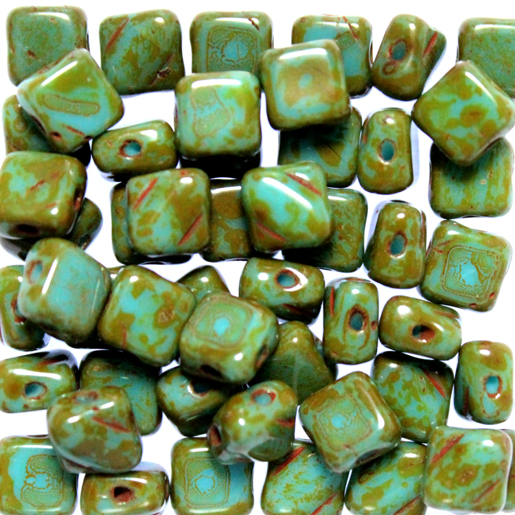 Turquoise Travertin Silky Beads 50st
