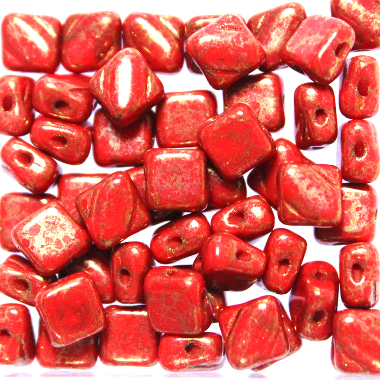 Opaque Red Copper Picasso Silky Beads 50st