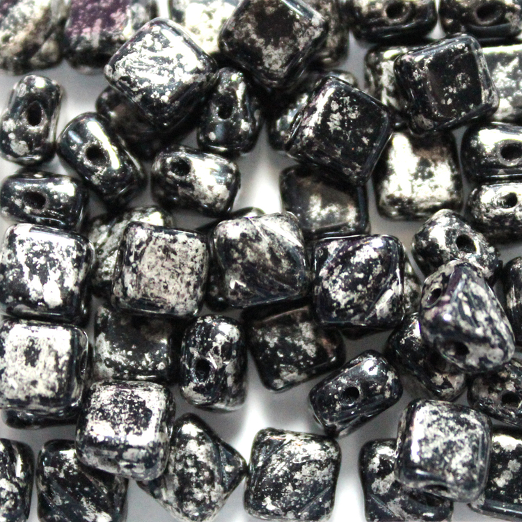Jet Antique Chrome Silky Beads 10g