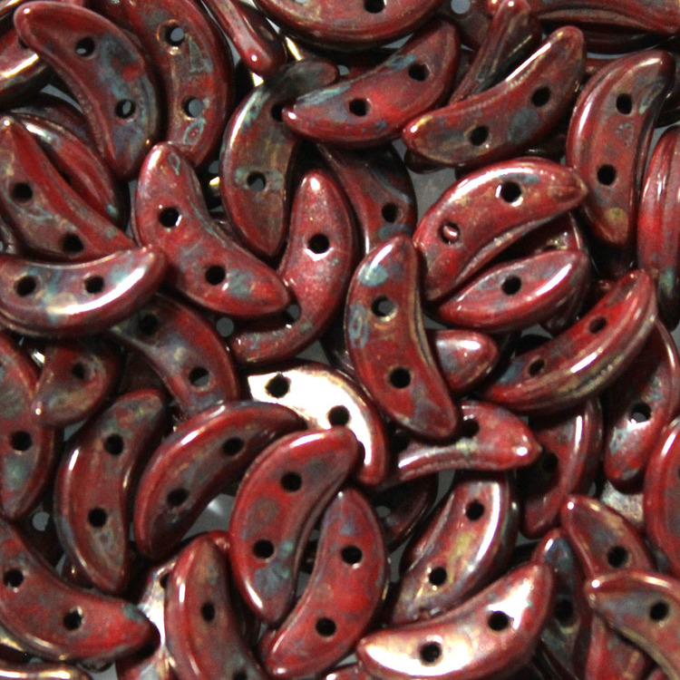 Opaque Red Bronze Picasso Crescent 10g
