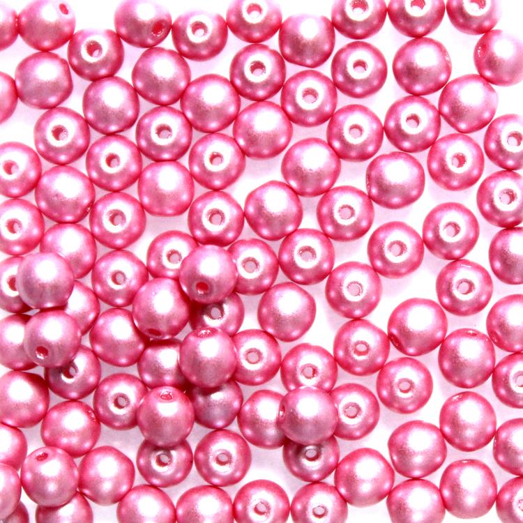 Alabaster Pastel Pink Runda/Druks 3mm 100st