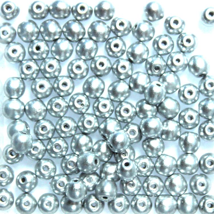 Aluminium Silver Runda/Druks 6mm 50st