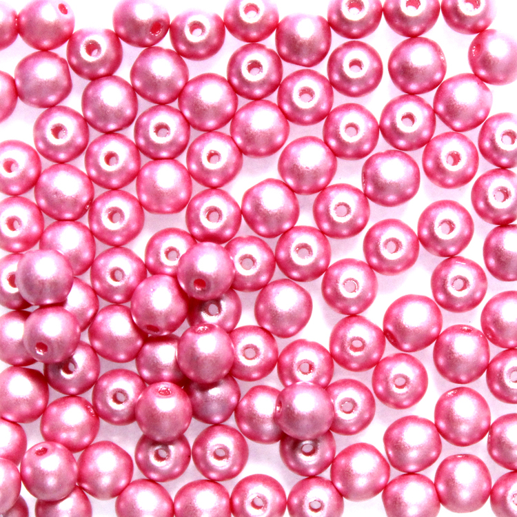 Alabaster Pastel Pink Runda/Druks 6mm 50st