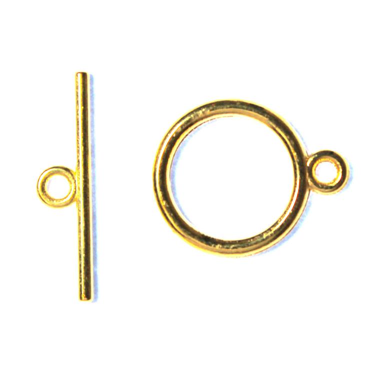 Togglelås Slät Guldfärgat 15mm 1set