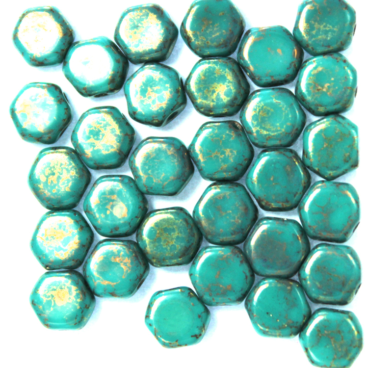 Opaque Turqoise Green Copper Picasso Honeycomb 30st