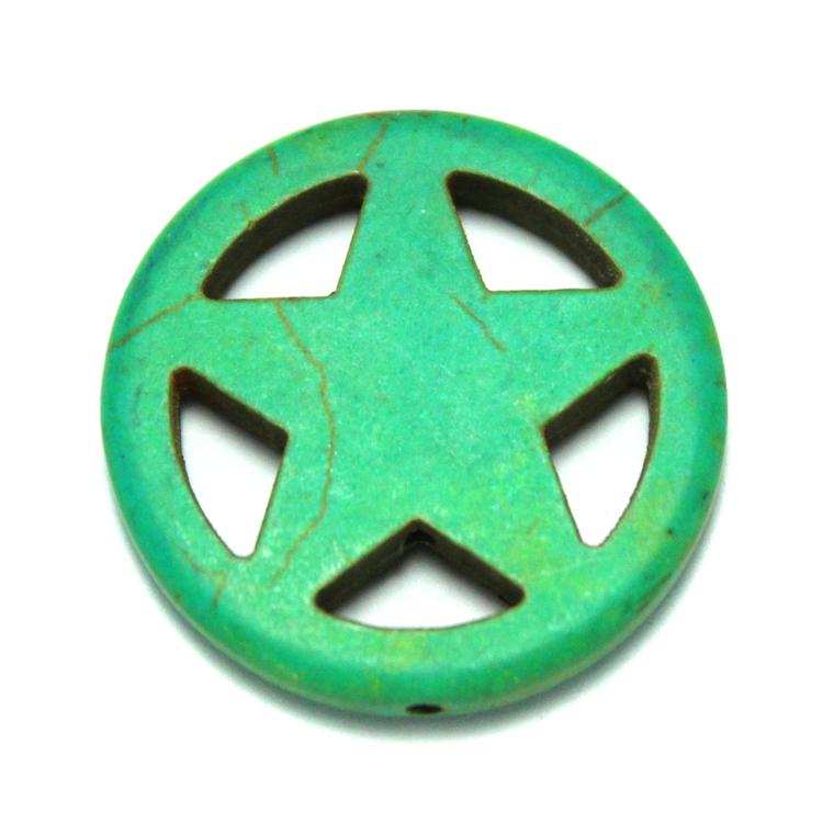 Grön Howlite Stjärna i Ring 30mm 1st