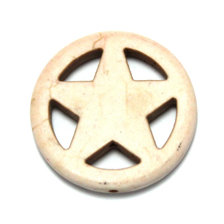 Vit Howlite Stjärna i Ring 30mm 1st