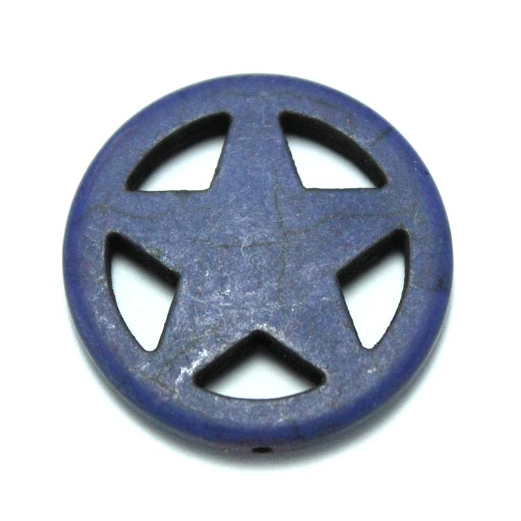 Blå Howlite Stjärna i Ring 30mm 1st