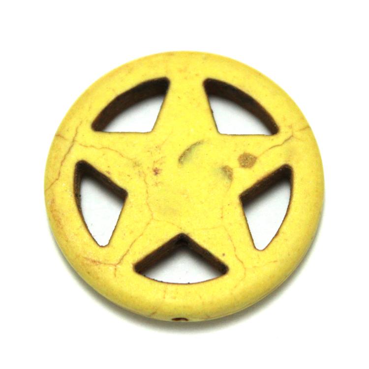 Gul Howlite Stjärna i Ring 30mm 1st