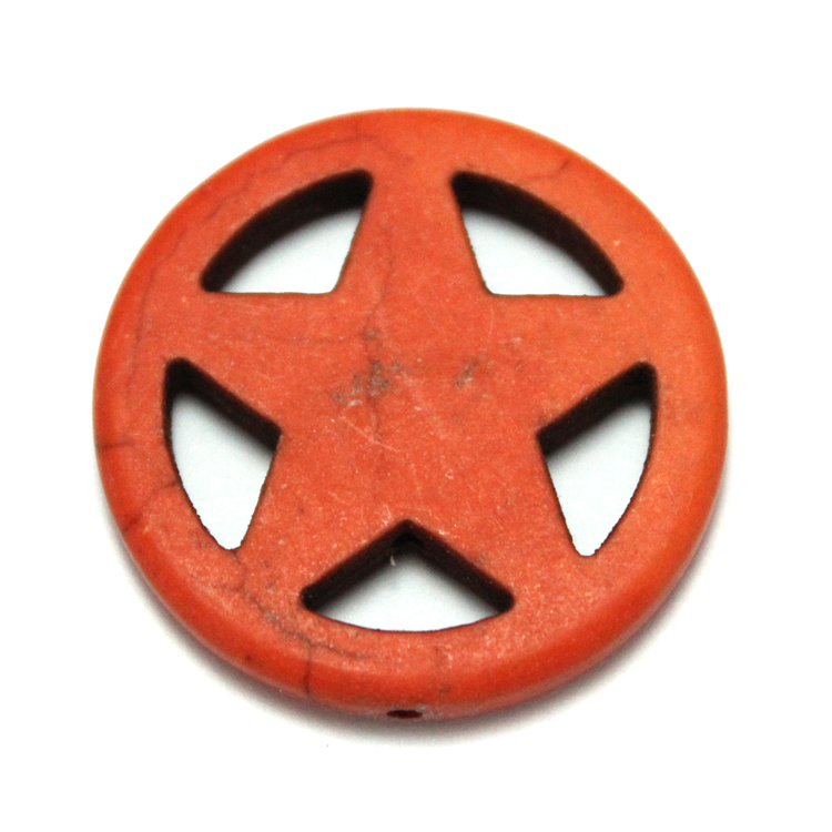 Orange Howlite Stjärna i Ring 30mm 1st