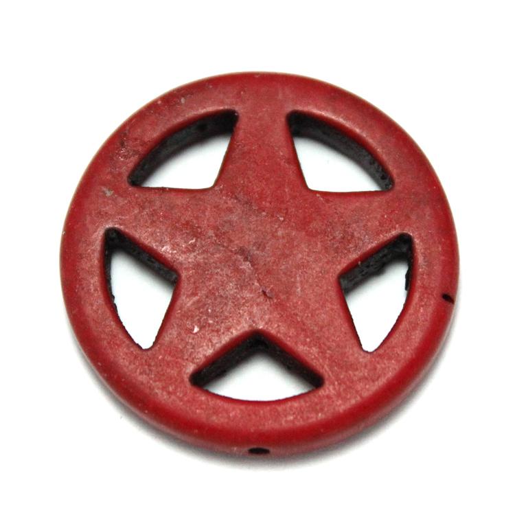 Röd Howlite Stjärna i Ring 30mm 1st