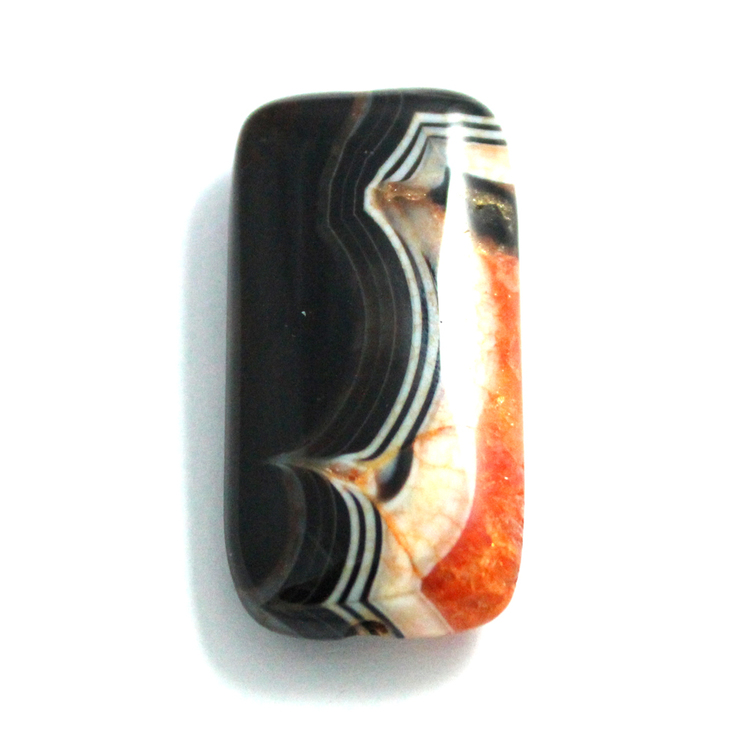 Orange/Svart Agat 40x20mm 1st