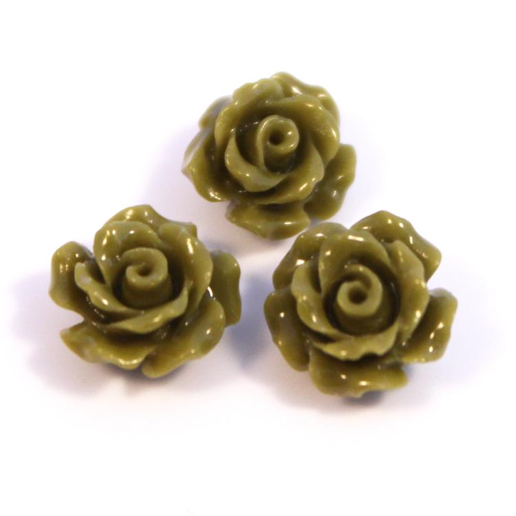 Olivgrön Korall Syntet Rosor 8mm 3st