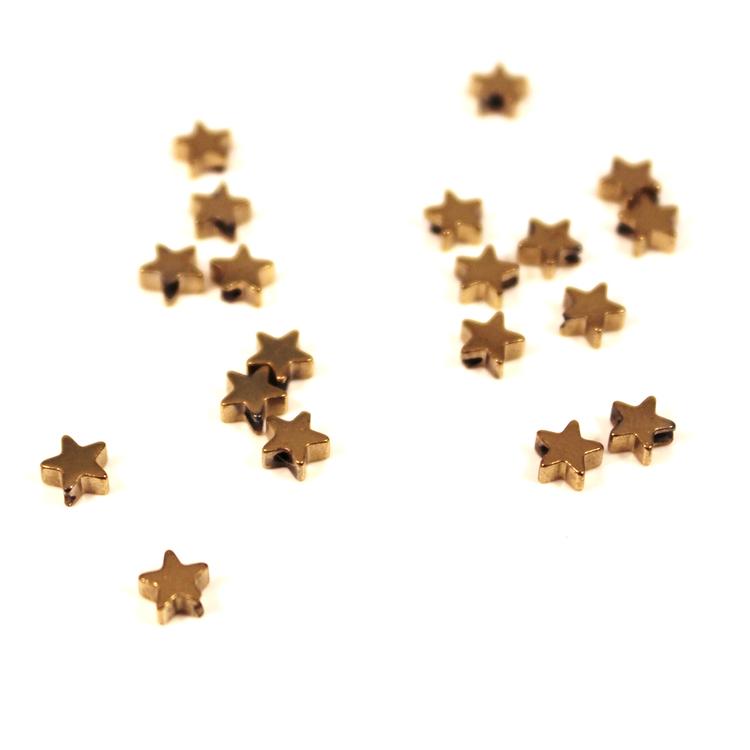 Guld Hematite Stjärnor 4mm 50st