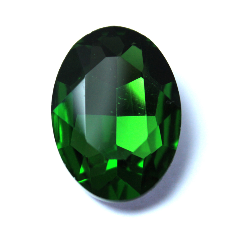Dark Green Kinesisk Strass Oval 18x13mm 2st