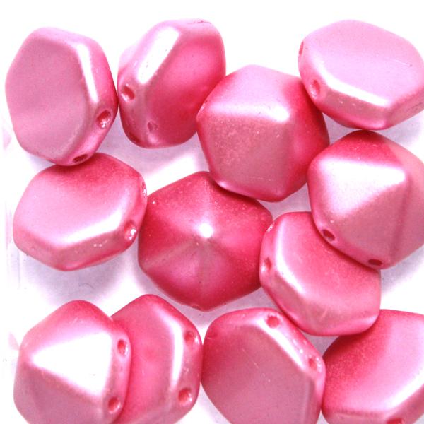 Alabaster Pastel Pink Pyramid Hexagon 12st