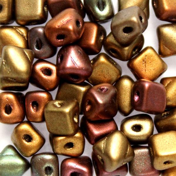 Gold Metallic Iris Silky Beads Mini 40st