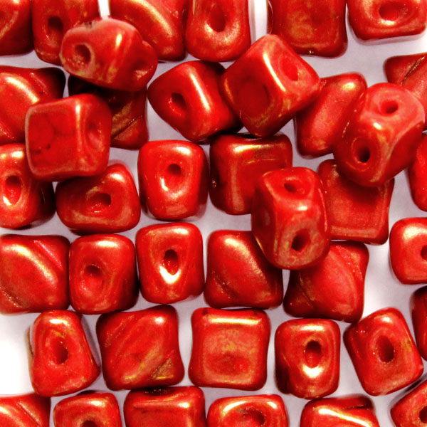 Red Copper Picasso Silky Beads Mini 40st