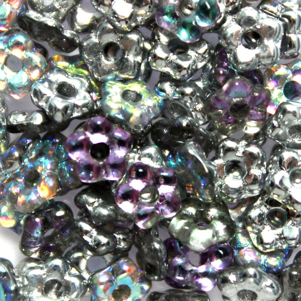 Crystal Silver Rainbow Flower Bead 5g