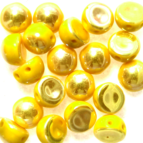 Opaque Lemon Full Light AB 2-hole Cabochon 20st