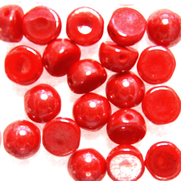 Opaque Red Luster 2-hole Cabochon 20st