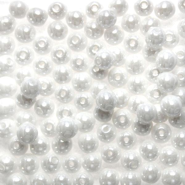 Opaque White Luster Runda/Druks 6mm 50st