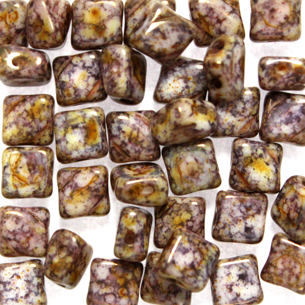 Alabaster Bronze Picasso Silky Beads 10g