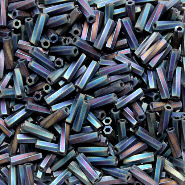 Opaque Matte Black AB TW206-0401FR Miyuki Twisted Bugle Beads 6mm 10g