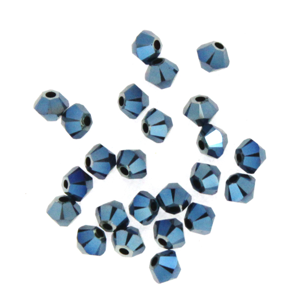 Crystal Metallic Blue 2x Swarovski Bicone 3mm 24st