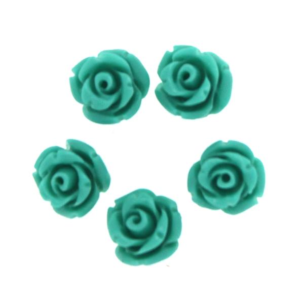 Turkosgrön Korall Syntet Rosor 8mm 5st
