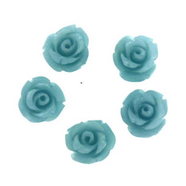 Ljusblå Korall Syntet Rosor 8mm 5st