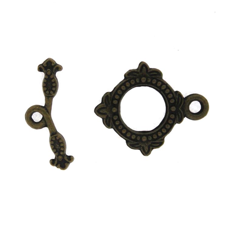 Togglelås Fyrkantigt Bronsfärgat 18mm 1set