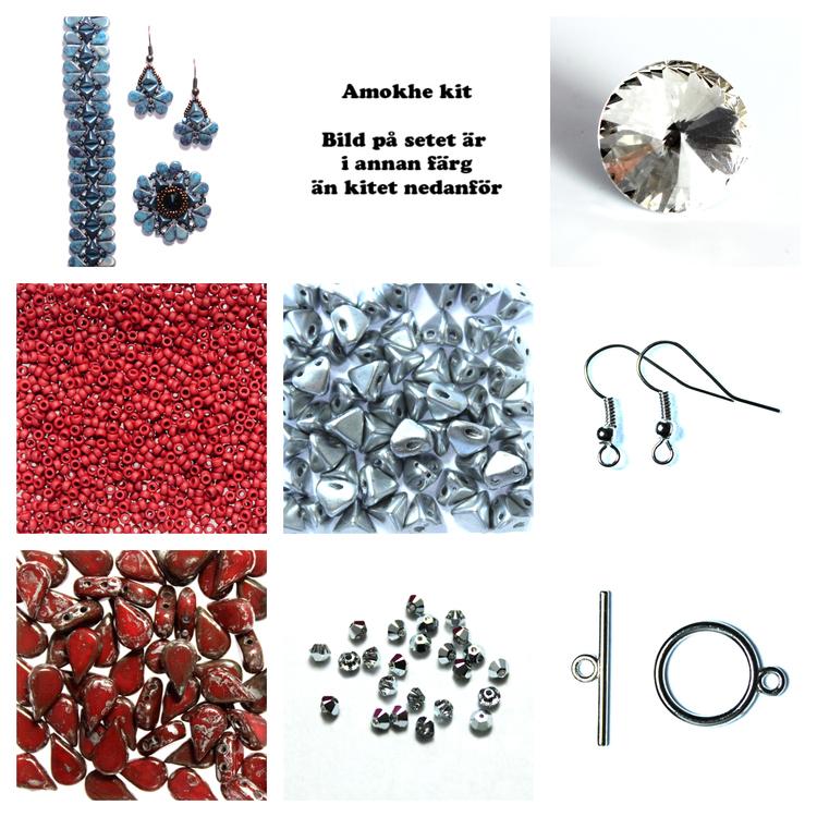 Amokhe Kit Röd och Silver (EJ MÖNSTER ENDAST PÄRLOR)