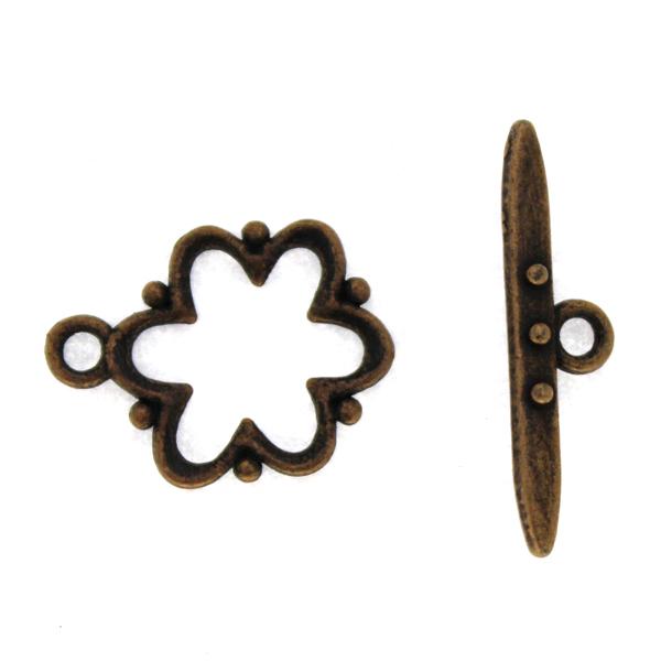Togglelås Blomma Kopparfärgat 15mm 1set