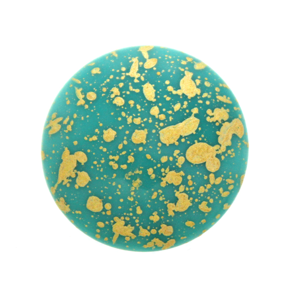 Dark Turquoise Gold Splash Cabochon Par Puca 25mm 1st