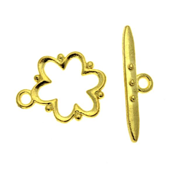 Togglelås Blomma Guldfärgat 15mm 1set