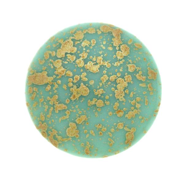 Opaque Aqua Gold Splash Cabochon Par Puca 25mm 1st