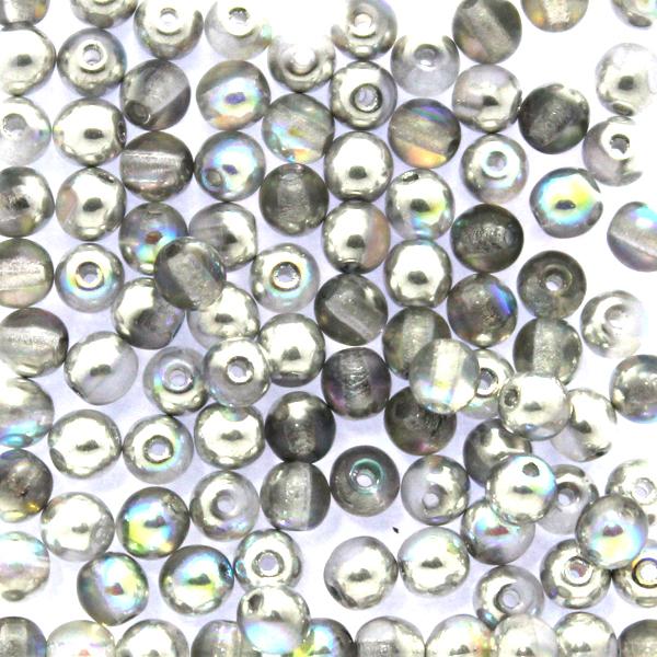 Crystal Silver Rainbow Runda/Druks 3mm 100st