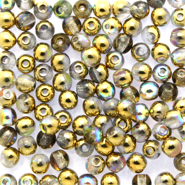 Crystal Golden Rainbow Runda/Druks 3mm 100st