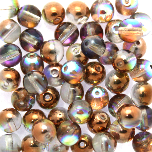 Crystal Copper Rainbow Runda/Druks 6mm 50st