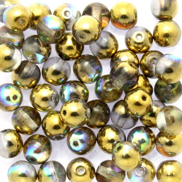 Crystal Golden Rainbow Runda/Druks 6mm 50st