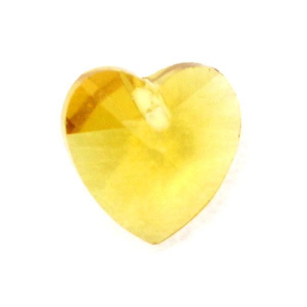Yellow Hjärta Glas 10x10mm 1st