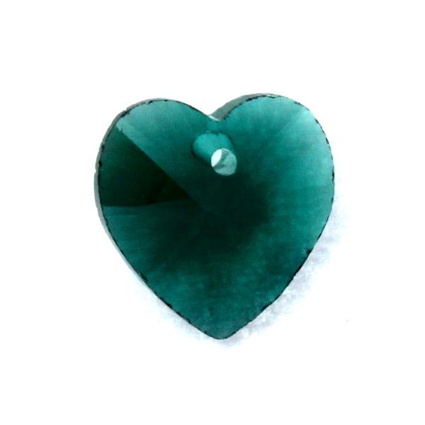 Emerald Hjärta Glas 10x10mm 1st